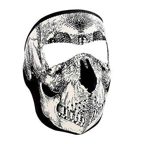 ZANheadgear Full Mask, Neoprene, Black & White Skull Face by Zanheadgear