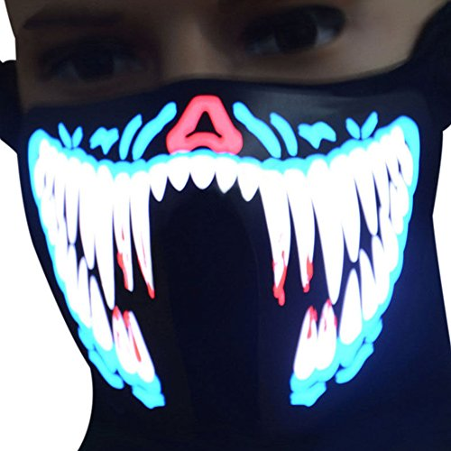 LED-Beleuchtungsmaske, Stimmsteuerung, leuchtende Gesichtsmaske für Halloween, Cosplay, Party, Kostüm, Dekoration fg-mj-005 Wie (Kälte Halloween Kostüme Für Kinder)