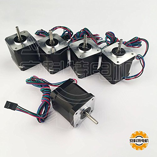 ACT MOTOR GmbH 5PCS 17HS5415P1-X6 D-Flat Nema17 Stepper Motor Bipolar 48mm Body 55Ncm Torque 4Wire 1m Cable and Connector 1.5A with 1.8° 4.2V for 3D Printer CNC