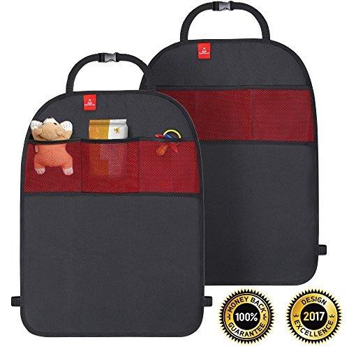 ROYAL RASCALS | Tappetini Paracalci x2 | Protegge la Tappezzeria dell'Automobile | Organizzatore con Tasche | Misura Universale | Protezione Resistente contro Calci e Macchie | PRODOTTO PREMIUM