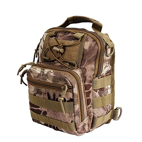 Airsson Military Shoulder Sling Chest Bag Pack Tactical Bagpack Molle Large Daypack for Outdoor Travel Camping Hiking Trekking 1000D Banshee Camo