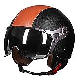SKINGOHelmet Moto Jet Casque Casque Femme Scooter Ouvert Hommes 3/4 Retro Open Face...