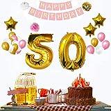 50 geburtstag dekoration set (32 Pcs )- Glücklich Geburtstag Banner erstellen Mit Ballons, Pom Pom, Gold, Weiß & Rosa ,3 Strohhalme (Aufblasen) - Old Party Hängende Dekorationen Bulk Supplies