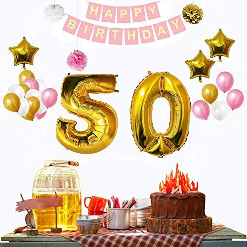 BELLE VOUS 50º Cumpleaños Decoraciones (32 Piezas) - Fiesta Bandera Conjunto con Globos, Pom Pom, Látex Frustrar Globos Oro, Blanco & Rosado Fiesta, 3 pajilla (desinflar ) -Suministros para Adultos