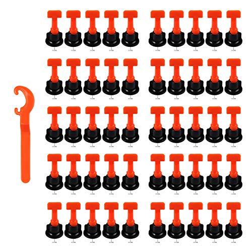 LiNKFOR 50 Stücke T-Type Flache Keramik Boden Wand Wiederverwendbare Fliesen Nivelliersystem Kit Bodenbeläge Fliesennivellierer Set Tile Leveling System + Spezialschlüssel