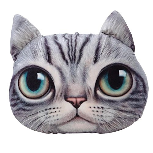 YunNasi Meow Stella a forma di testa di gatto peluche cuscino auto divano cuscino per sedia con schienale, Grigio, occhi