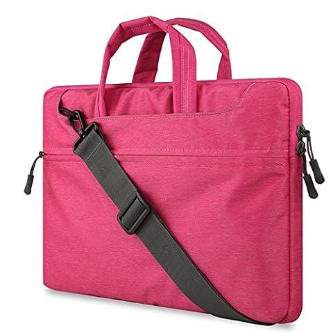 Laptop Handbag Pour 11.0-12.0 Pouce Ordinateur Portable,Polyester Antichoc Notebook Computer Briefcase Sacoche / Sac à main / Shoulder Bag / Messenger Bag / Tablette Étui Cover Pour Apple MacBook Air 11.6'' / Macbook Retina 12.0'' / Asus Zenbook / Lenovo / Samsung / Dell / HP / Acer / Sony / Chromebook (Rose)