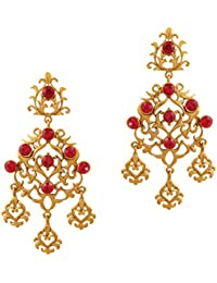 Touchstone Antique Gold Plated Pink Ethnic Hanging Earrings For Women