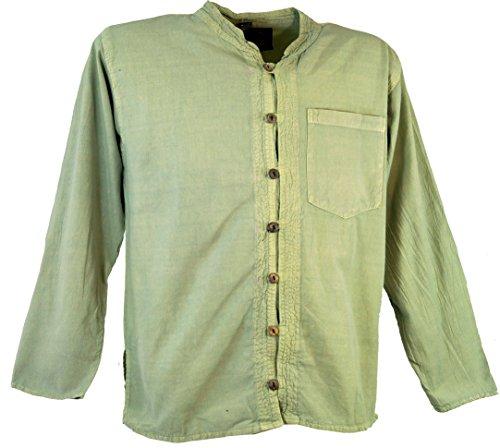 Guru-Shop Hemd Yogahemd, Hippie, Goa Hemd, Herren, Baumwolle, Männerhemden Alternative Bekleidung naturweiß