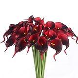 Justoyou Künstliche Blumen. 20Stück, Latex, realistische Calla-Lilien für Hochzeit, Zuhause, Hotel, Garten, Dekoration, Textil, ziegelrot, 20 Stück