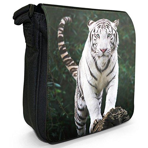 Weiße Tiger Kleine Schultertasche aus schwarzem Canvas Blick eines weißen Tigers