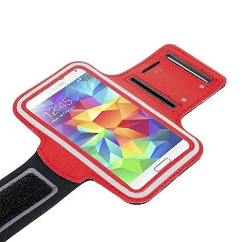 Sport Armband rot für Sony xperia X Performance   XZ   XZs   X   Z5   Z3   Z2   Z1   M5   M4   E5   E4   E3 Tasche Armtasche Schutzhülle Etui Case Hülle Handytasche für Sport Jogging und