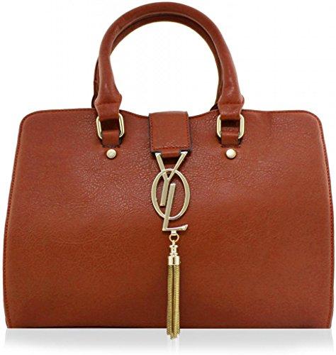 kukubird-gold-drape-faux-leather-designer-tote-handbag-brown
