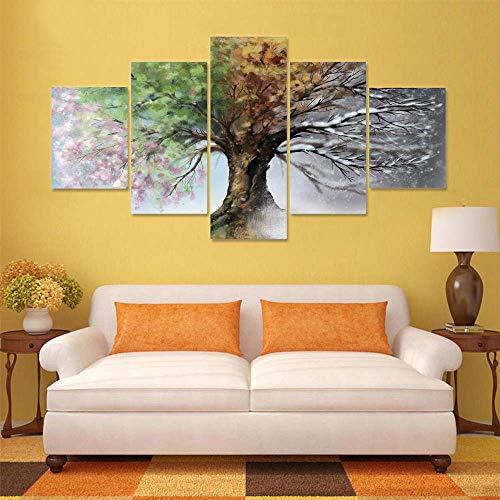 AIPIOR Modulare HD Gedruckt Leinwand Poster Rahmen 5 Panel Vier Jahreszeiten Baum Kunstwerk Malerei Dekoration Wohnzimmer Wandbilder -