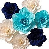 Papel flores, flores de papel gigante (azul marino, azul claro, blanco, Set de 7), hecha a mano flores para boda telón de fondo, guardería, arco decoraciones de pared decoración, Baby Shower