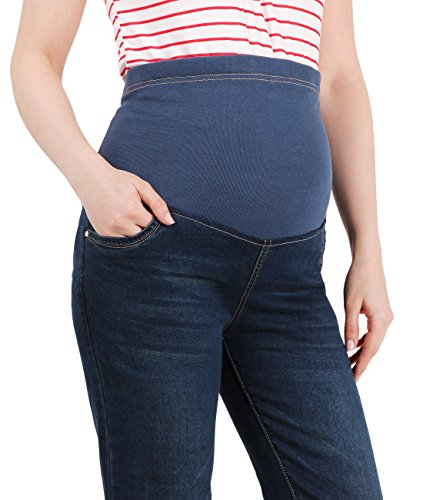 KRISP Damen High Waist Schwangerschaft Hose Stretch Umstandsjeans Slim Fit Elegant Dunkelblau