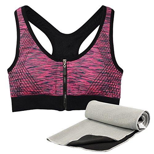 SOUMIT Sport Bra | Ohne Bügel BH mit Kühlung Handtuch für Pilates Yoga Reisen Camping Golf Wandern & Outdoor (Damen, Rose, L)