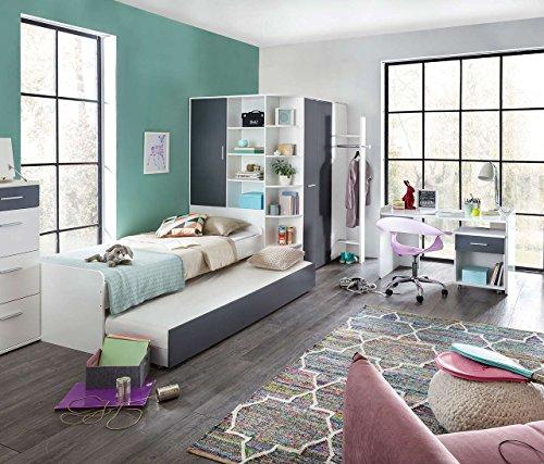 lifestyle4living Jugendzimmer in strahlendem weiß mit Absetzungen in Graphit, 5-teiliges Komplettset mit begehbarem Eckkleiderschrank, Kinderzimmer -