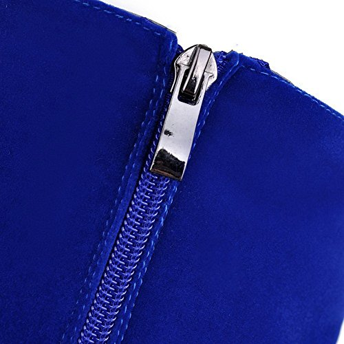 Solido Tacco Alto Alta Blu Colore Donna Voguezone009 Stivali Zip tvBqvwT