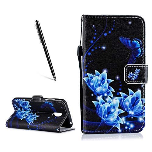 OnlyCase Meizu Pro 6 Plus Hülle Handyhülle Schutzhülle, Flip PU Leder Fall gemaltes Muster Case magnetischen Verschluss Ständer Kartenhalter, Blaue Blume