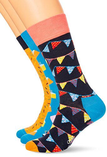 Happy Socks Happy Birthday Gift Box, Calcetines Casual para Mujer, Blau (Navy 6001), Talla única(Pack de 3) Happy Socks