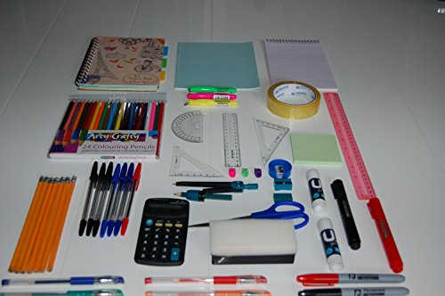 68 Pieces Back to School Stationery Set.Supplies include Glitter Gel Pens Colouring Pencils Pencil Sharpener Craft Scissors Glue Sticks Math Set Calculator Notepads Sellotape Sticky Notes Highlighters