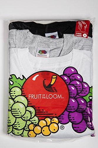 Fruit of the Loom 3er Pack T-Shirts, Unisex, Rundhals, Kurzarm Bianco/Grigio/Nero