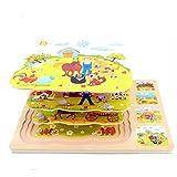 Hillento Enfants Puzzles en Bois Multicouches - Bois 3 Couches Animaux de la Ferme à retordre aux Puzzles éducatifs pour Les Tout-Petits des Jouets Anciens de l'éducation