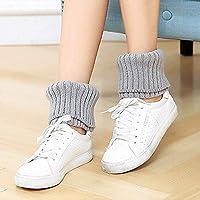 Calcetines largos Japonés y coreano calcetines de otoño e invierno, botas cortas para mujeres, conjunto de lana, punto, doble aguja, pies gruesos y calientes, patas para patas (color: Gris claro, Tama