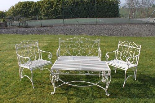 Garten-Kaffee-Garnitur im Versailles-Stil, in antikem Weiß