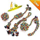 VIEWLON Pet Chew Corda Giocattoli, Giocattoli di Corda Cane,Corda di Cotone Giocattoli da Masticare per Cane Cucciolo di Dentale Salute Pulizia dei Denti,Regalo per Cani di Taglia Piccola (4 Pezzi).