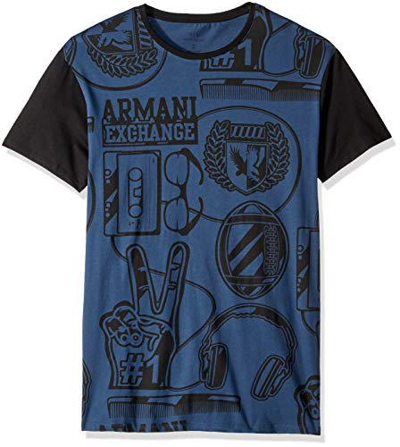 Armani Exchange A|X Herren Short-Sleeve Scholastic-Inspired Graphic T-Shirt, Sargasso Sea Blue, Groß