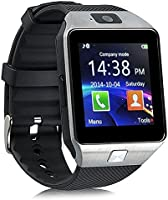 smartwatch dz09,ZKCREATION orologio android uomo Touch Screen cellulare digitale,Bluetooth intelligente smart watch sport waterproof fotocamera con SIM Card Slot compatibile Android e iOS (argento)