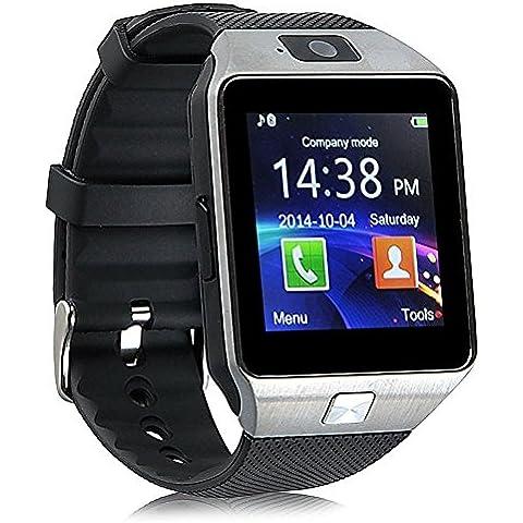 Bluetooth Smart Watch zkcreation DZ09 telefonata Orologio da polso compatibile con Android e iOS sistema (argento)