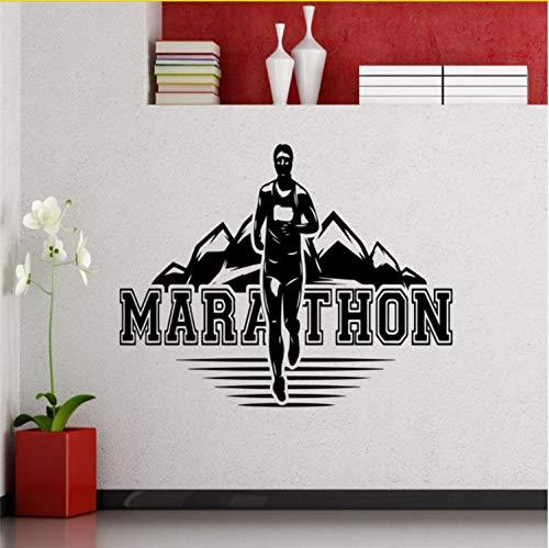 Kyzaaa Marathon Runner Wandtattoo Laufsport Lauf Athlet Club Fitness Gym Vinyl Aufkleber Home Kinderzimmer Poster Vinyl