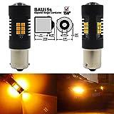 2-Pack 1156PY 1056 BAU15S 7507 12496 PY21W Lampadina Ambra / Giallo estremamente brillante a LED non polarità 9-30V-DC, 2835 21 Sostituzione SMD per lampadine a farfalla chiusa Blinker