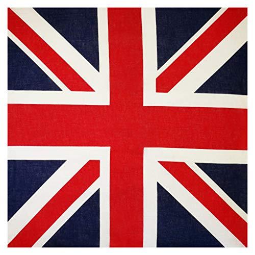 Kofun Stirnband Bandana, 54X54Cm Unisex Britische Flagge Union Jack Biker Platz Bandana Fußballfans Karneval Baumwolle Head Wrap Hip Hop Tanzen Taschentuch -