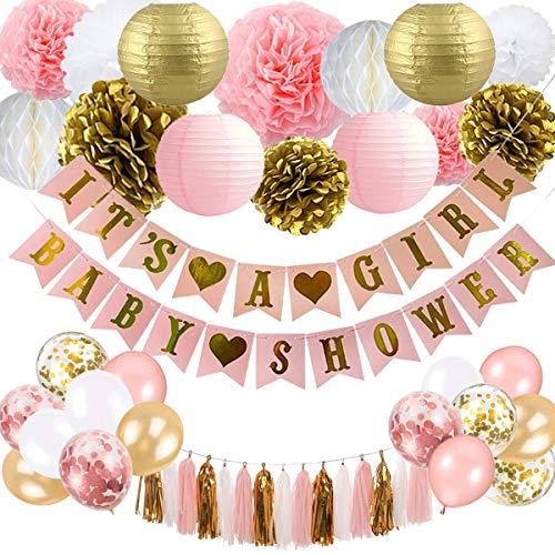 onen für Mädchen - Pink und Gold Baby Shower Dekoration Es ist EIN Mädchen & Baby Shower Banner mit Papierlaterne Pompoms Blumen Honeycomb Ballons Folie Quaste ()