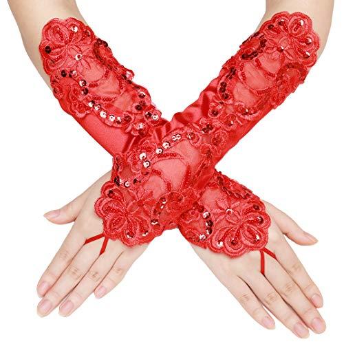 schuhe Satin Classic Opera Fest Party Audrey Hepburn Handschuhe 1920s Handschuhe Damen Lang Kurz Elastisch (Fingerlos Spitze/Rot) ()