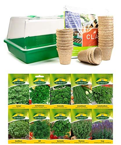 mgc24® Zimmergewächshaus »Greenhouse« | Anzuchtschale mit Deckel und Belüftung | Komplettset mit 24 Torftöpfen + 2,5l Anzuchterde + 10 Sorten Kräutersamen