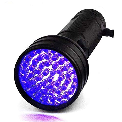 HKANG UV Linterna Pesca Negro luz 51 LED 395NM Ultravioleta Negra Detector Perro orina Mascotas Manchas Cama Bug