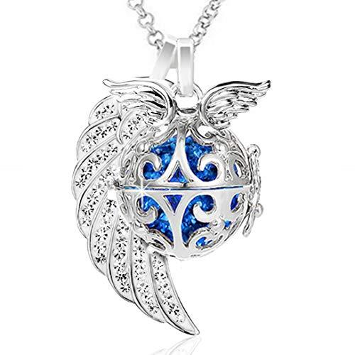 AKKi jewelry Damen Halskette Edelstahl 70 cm mit Engelrufer Anhänger Engel flügel Ornament und Engels Strass Kugel no Klangkugel Ø 14 mm in Schmuckbeutel zur Farbauswahl Blau