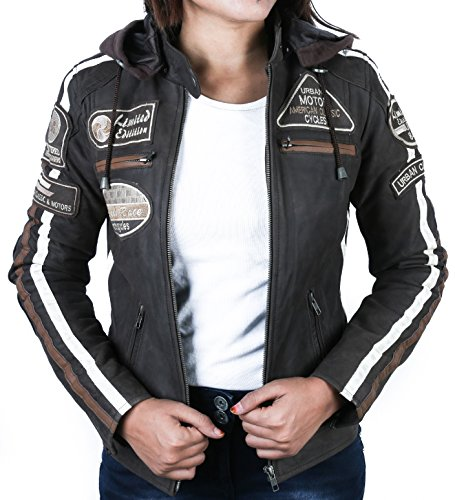 Damen Motorradjacke mit Protektoren, Braun, Große : S - 4