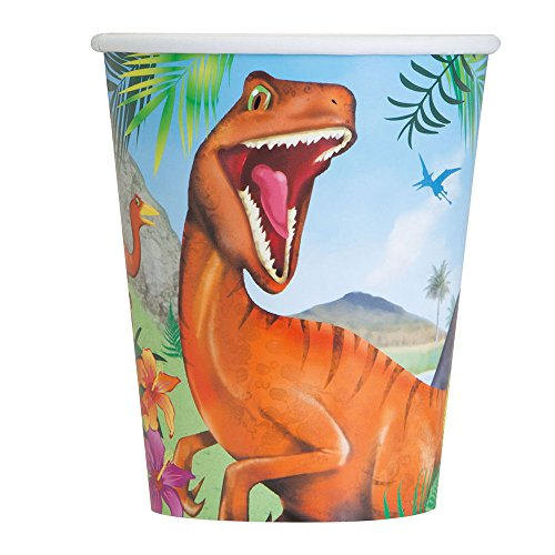 Unique Party - Vasos de Papel - 266 ml - Fiesta de Dinosaurios - Paquete de 8 (58316)