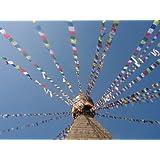 Drapeau de prière sur longue chaîne - 25 drapeaux - longueur totale de la chaîne d'environ 680cm , chaque mesure de drapeau 16cm par 25 cm - commerce équitable