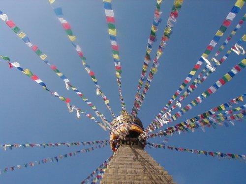 Grandi Fairtrade tibetane Bandiere di preghiera sulla