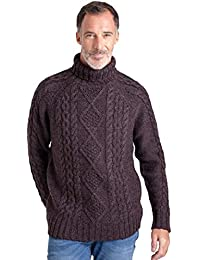 WoolOvers Pull irlandais à col roulé - Homme - Pure Laine Dark Burgundy Marl, M