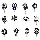 Om Jewells Indo Western Fashion Oxidized Silver Grey...