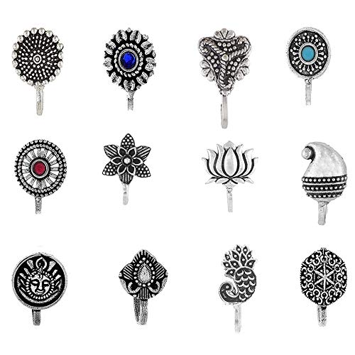 Om Jewells Indo Western Fashion Oxidized Silver Grey Jewellery Nose Pin with Finish for Girls and Women -Combo of 12