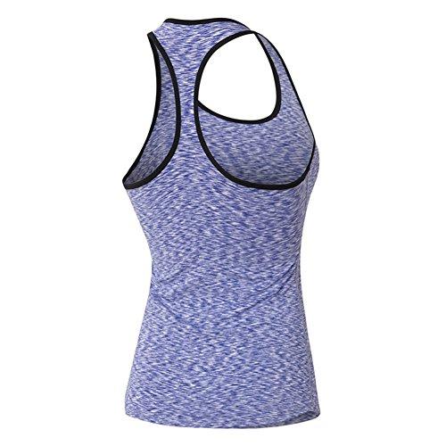 AiJump Femmes Débardeur de Sport Yoga Gym Fitness Running Jogging T-shirt sans Manches Top Dos Nageur Ultra-respirant Anti-odeur Antibactérien Lilas